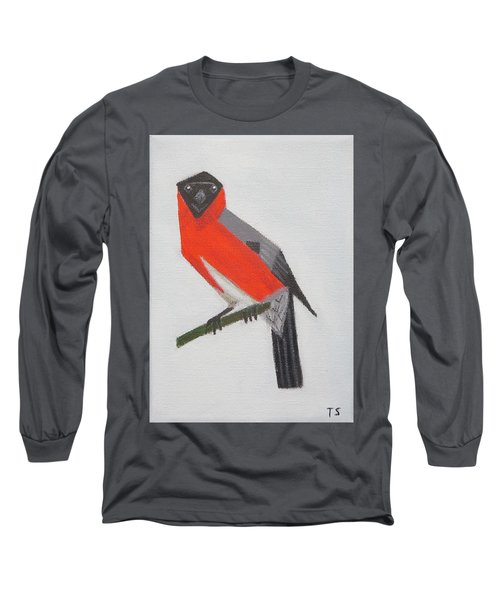 Northern Bullfinch Long Sleeve T-Shirt by Tamara Savchenko