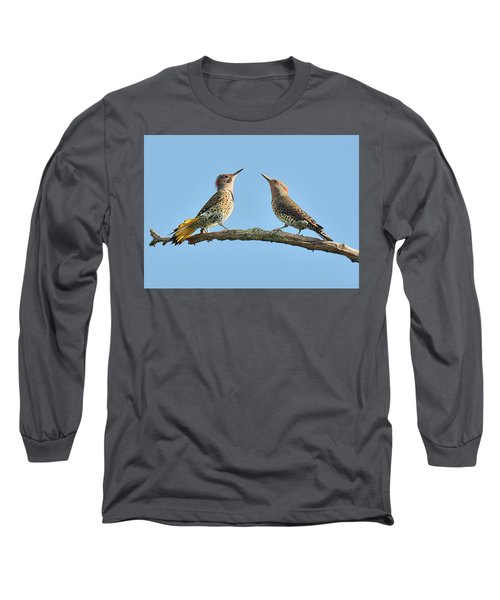 Northern Flickers Communicate Long Sleeve T-Shirt by Alan Lenk