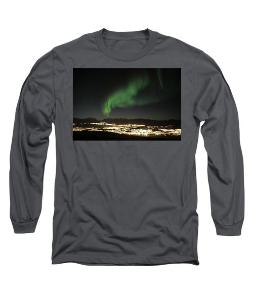 Northern Light In Troms, North Of Norway Long Sleeve T-Shirt