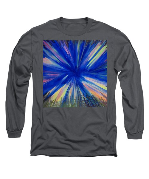 Long Sleeve T-Shirt featuring the painting Northern Lights 3 by Cathy Long