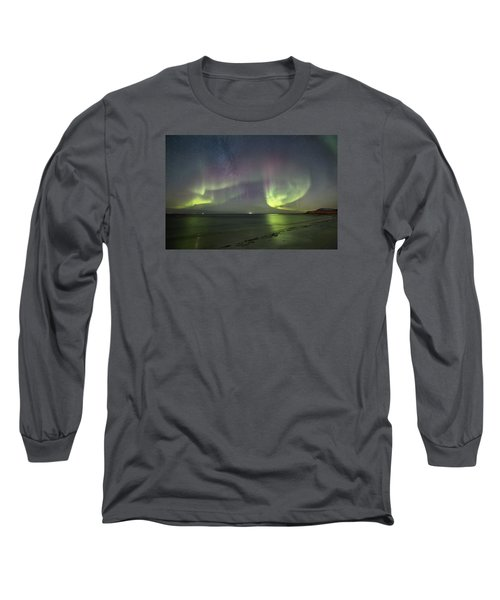 Northern Lights At The Beach II Long Sleeve T-Shirt