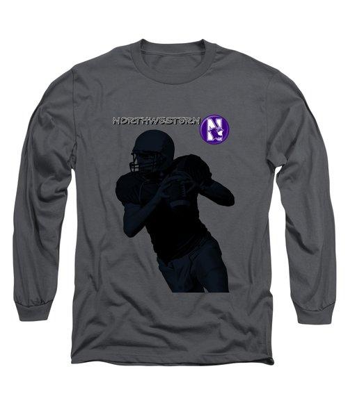 Long Sleeve T-Shirt featuring the digital art Northwestern Football by David Dehner