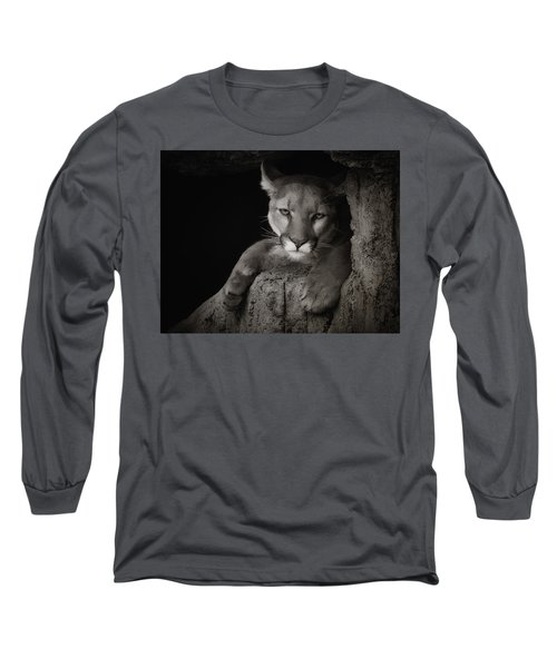 Not A Happy Cat Long Sleeve T-Shirt by Elaine Malott