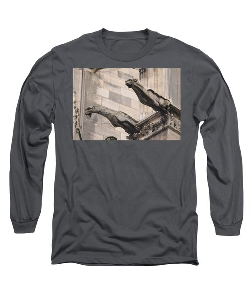 Long Sleeve T-Shirt featuring the photograph Notre Dame Cathedral Gargoyles by Christopher Kirby