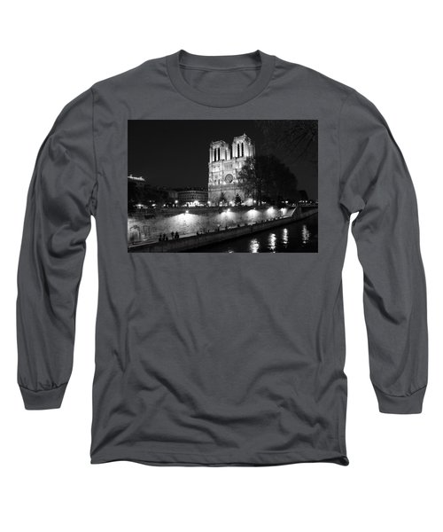 Long Sleeve T-Shirt featuring the photograph Notre Dame Night 1bw by Andrew Fare