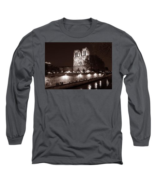 Long Sleeve T-Shirt featuring the photograph Notre Dame Night 1s by Andrew Fare