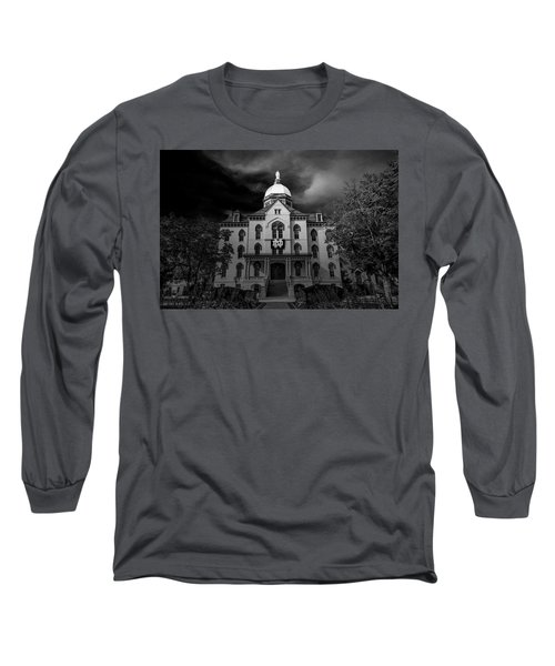 Long Sleeve T-Shirt featuring the photograph Notre Dame University Black White 3a by David Haskett