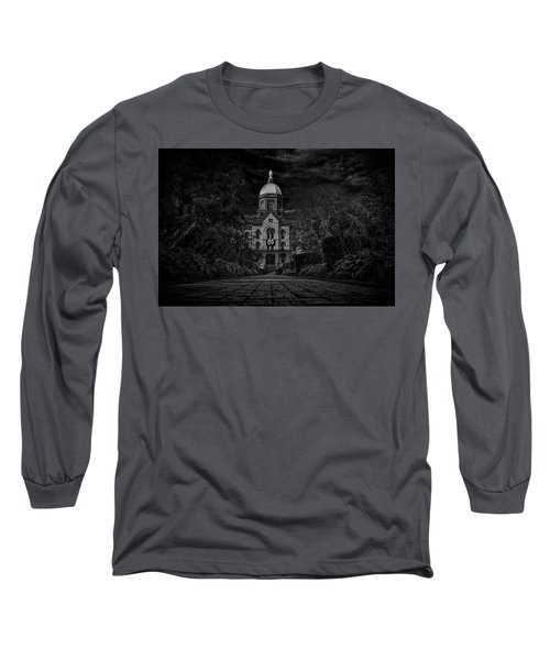 Long Sleeve T-Shirt featuring the photograph Notre Dame University Golden Dome Bw by David Haskett