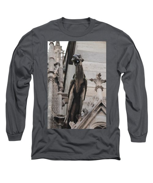 Long Sleeve T-Shirt featuring the photograph Rain Spouting Gargoyle. by Christopher Kirby