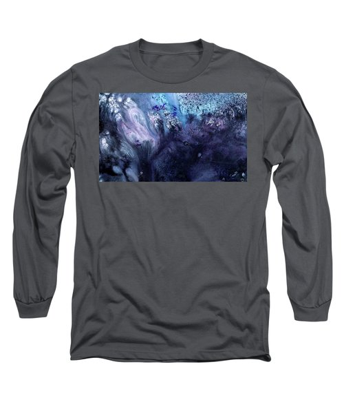 November Rain - Contemporary Blue Abstract Painting Long Sleeve T-Shirt