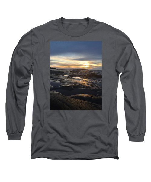 Long Sleeve T-Shirt featuring the photograph November Sunset On Lake Superior by Paula Brown