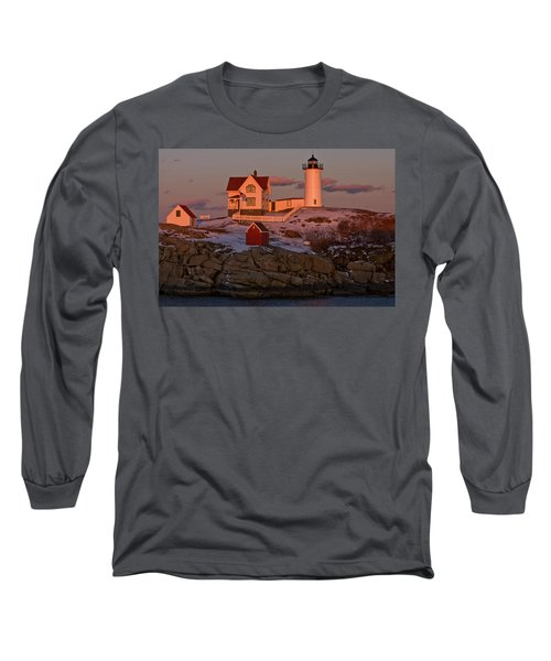 Nubble Light At Sunset Long Sleeve T-Shirt