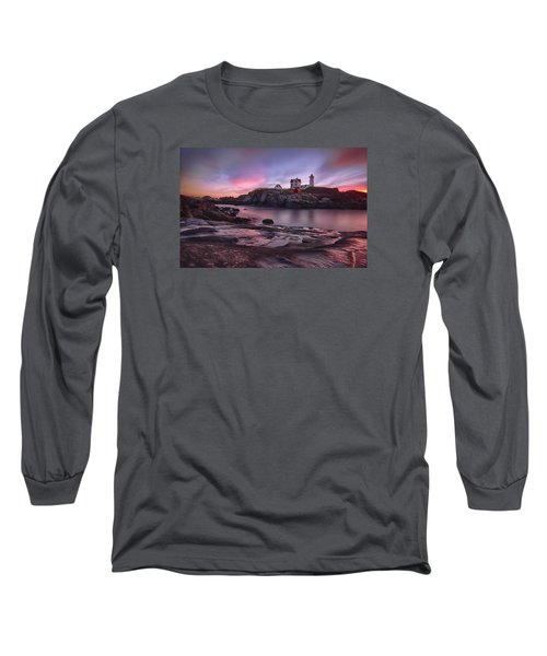 Nubble Lighthouse At Sunrise York Me Long Sleeve T-Shirt by Betty Denise