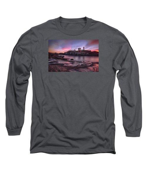 Nubble Lighthouse At Sunrise York Me Long Sleeve T-Shirt