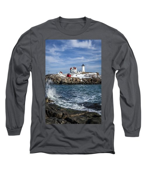 Nubble Lighthouse Winter Long Sleeve T-Shirt