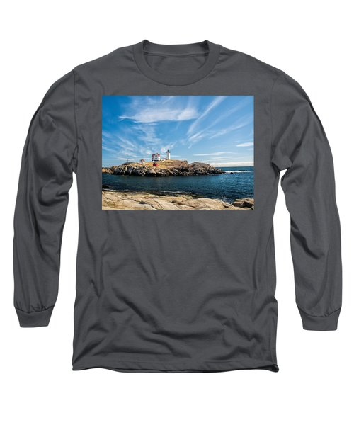 Long Sleeve T-Shirt featuring the photograph Nubble Lighthouse With Dramatic Clouds by Nancy De Flon