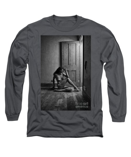 Nude Woman Sitting By Doorway In Abandoned Room Long Sleeve T-Shirt