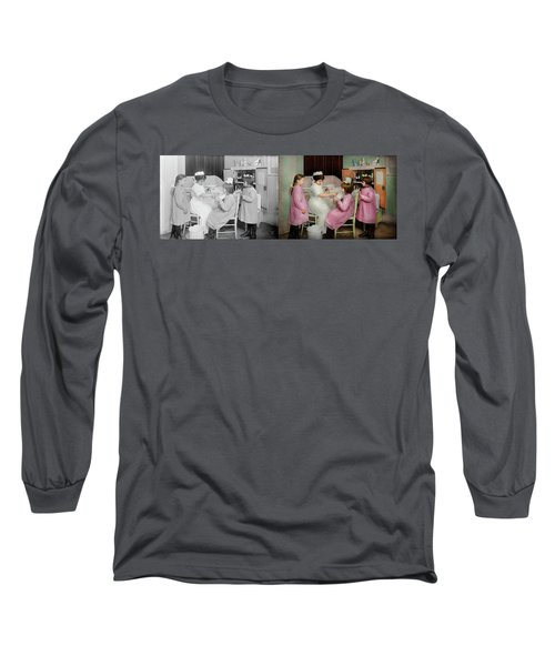 Long Sleeve T-Shirt featuring the photograph Nurse - Playing Nurse 1918 - Side By Side by Mike Savad