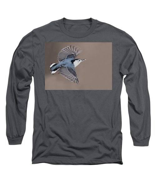 Long Sleeve T-Shirt featuring the photograph Nuthatch In Flight by Mircea Costina Photography