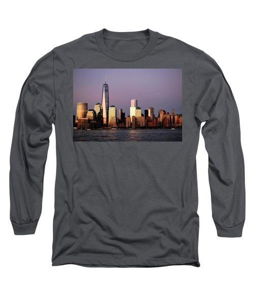 Nyc Skyline At Dusk Long Sleeve T-Shirt by Matt Harang
