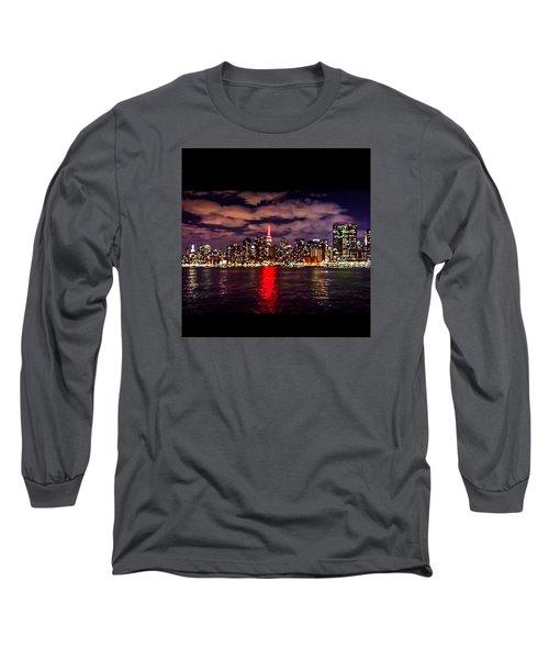 Nyc Skyline Long Sleeve T-Shirt by Diya Baichu