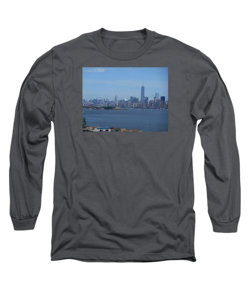 Nyc Skyline Long Sleeve T-Shirt by Kathleen Peck