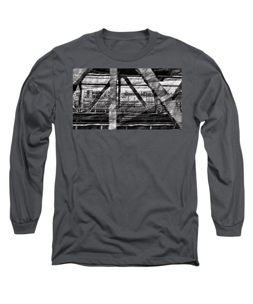 Long Sleeve T-Shirt featuring the photograph Nyc Train Bridge Tracts by Joan Reese