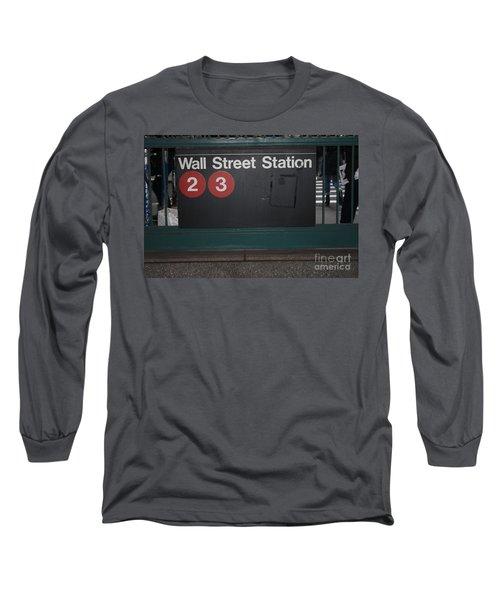 Nyc Wall Street Subway Entrance Long Sleeve T-Shirt