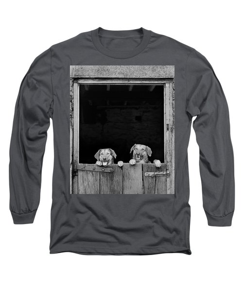 Nz Huntaways, Forever Happy And Nosey. Working Sheep Dogs Long Sleeve T-Shirt
