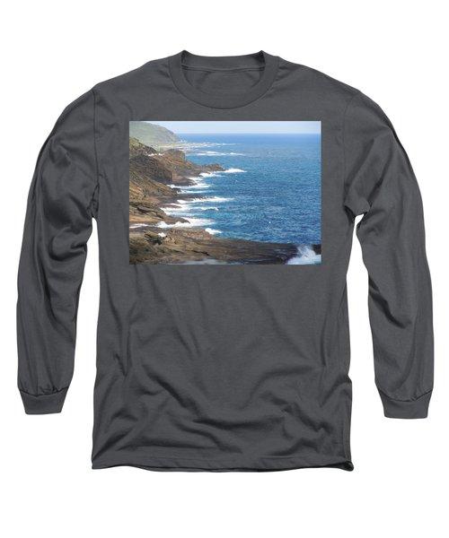 Oahu Coastline Long Sleeve T-Shirt by Karen J Shine