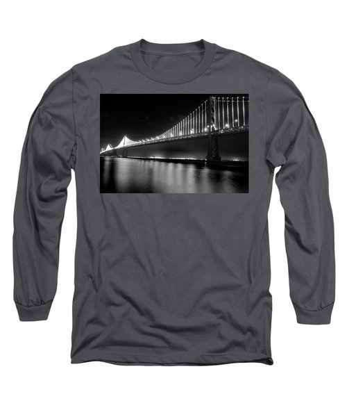 Long Sleeve T-Shirt featuring the photograph Oakland Bay Bridge At Night by Darcy Michaelchuk