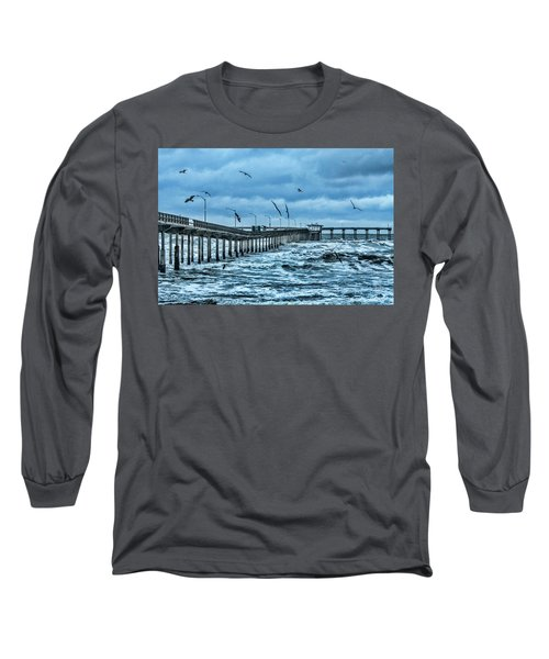 Ocean Beach Fishing Pier Long Sleeve T-Shirt by Daniel Hebard