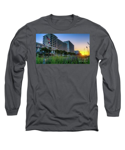 Ocean Drive Sunrise North Myrtle Beach Long Sleeve T-Shirt by David Smith