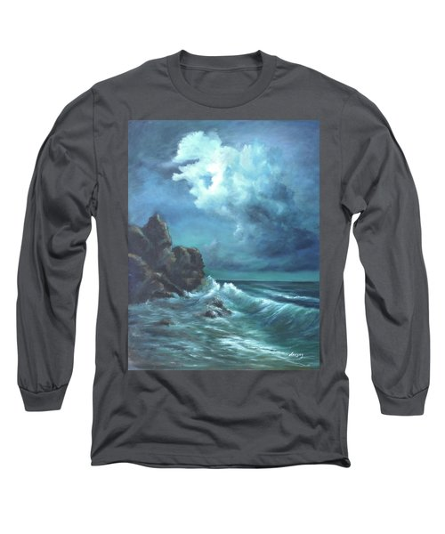 Long Sleeve T-Shirt featuring the painting Seascape And Moonlight An Ocean Scene by Luczay