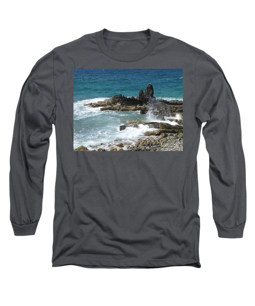 Ocean Spray Mid-air Long Sleeve T-Shirt by Margaret Brooks