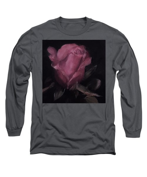 Oil Rose Painting Long Sleeve T-Shirt by Michele Carter