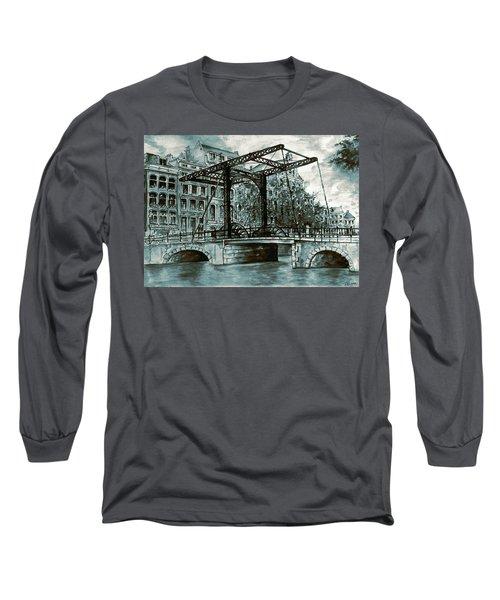 Old Amsterdam Bridge In Dutch Blue Water Colors Long Sleeve T-Shirt