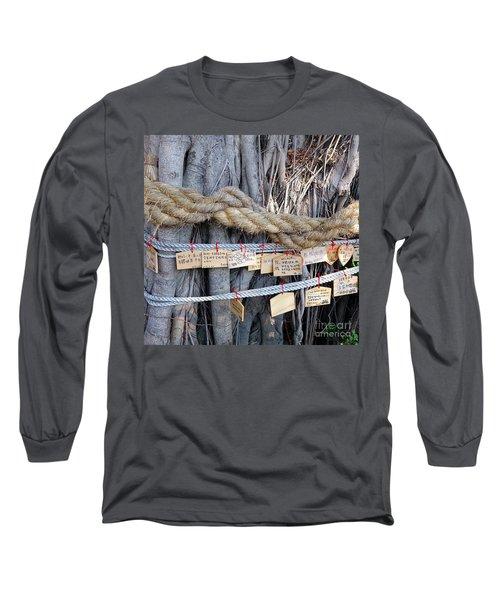 Old Banyan Wishing Tree Long Sleeve T-Shirt by Yali Shi