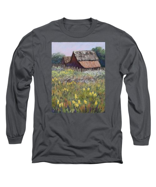Long Sleeve T-Shirt featuring the painting Old Barn In Spring by Nancy Jolley