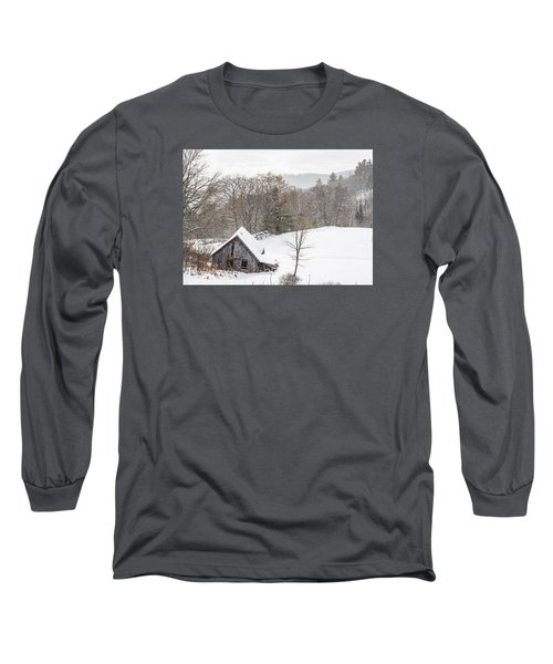 Old Barn On A Winter Day Wide View Long Sleeve T-Shirt
