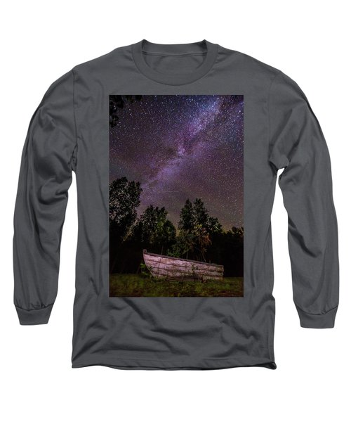 Old Boat Under The Stars Long Sleeve T-Shirt