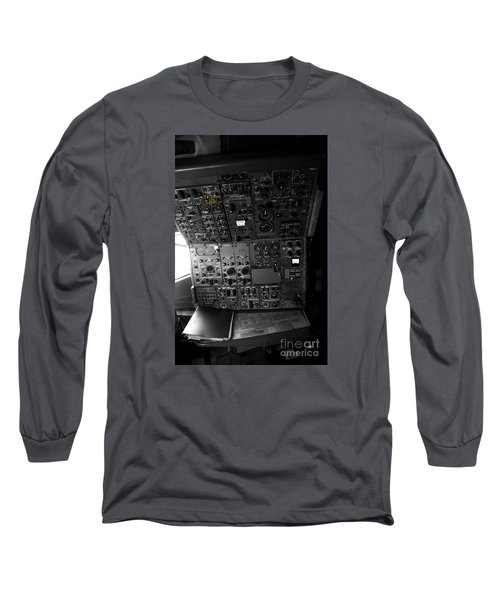 Old Boeing 727 Cockpit Long Sleeve T-Shirt by Micah May