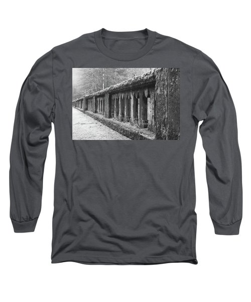 Long Sleeve T-Shirt featuring the photograph Old Bridge In Black And White by Angi Parks