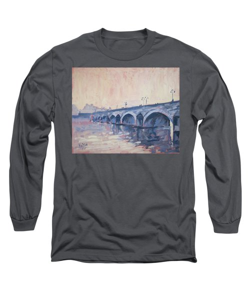 Old Bridge Of Maastricht In Warm Diffuse Autumn Light Long Sleeve T-Shirt by Nop Briex
