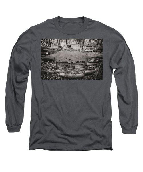 Old Car City In Black And White Long Sleeve T-Shirt
