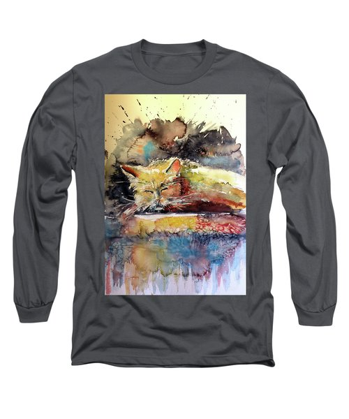 Old Cat Resting Long Sleeve T-Shirt by Kovacs Anna Brigitta