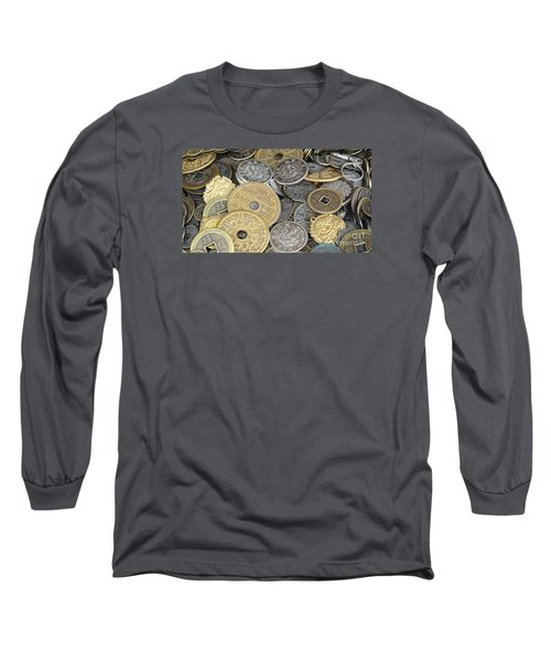 Old Chinese Coins And Money Long Sleeve T-Shirt by Yali Shi