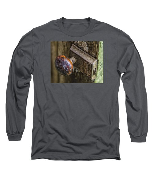 Long Sleeve T-Shirt featuring the photograph Old Door Knob by JRP Photography
