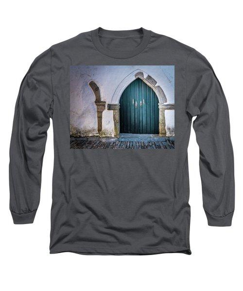 Old Doorway In Monsaraz Long Sleeve T-Shirt