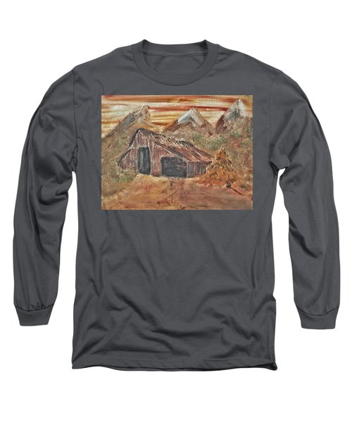 Long Sleeve T-Shirt featuring the painting Old Farmhouse With Hay Stack In A Snow Capped Mountain Range With Tractor Tracks Gouged In The Soft  by MendyZ